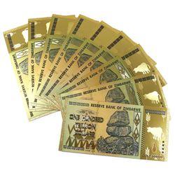 Reserve Bank of Zimbabwe 100 Trillion Dollar Gold Plated Novelty Notes. 9pcs