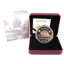 2018 Canada 5-cent Big Coin Rose-Gold Plated 5oz Fine Silver Coin (Tax Exempt).