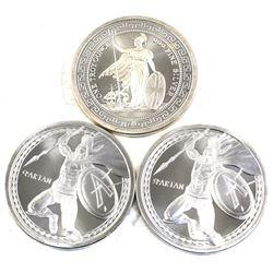 Britannia Design with Oriental Border & 2x Spartan Warrior 1oz .999 Fine Silver Rounds. 3pcs (TAX Ex