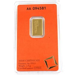 Valcambi Suisse 2.5g .9999 Fine Gold Bar in Hard Plastic Certificate (TAX Exempt).