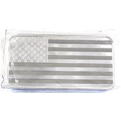 10oz American Flag Design .999 Fine Silver Bar in Sealed Plastic (TAX Exempt).