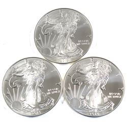 2013 USA 1oz .999 Fine Silver Eagles. 3pcs (TAX Exempt)