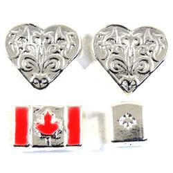 1oz Beaver Bullion .999 Fine Silver Pieces - 2x Heart, Red Enameled Flag & Cube. 4pcs (TAX Exempt)