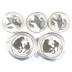 Lot of Australia 1/2oz .999 Fine Silver Coins - 3x 2014 Great White Shark & 2x 2016 Year of the Monk