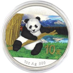 2014 China 1oz Coloured .999 Fine Silver Panda in Capsule (TAX Exempt).