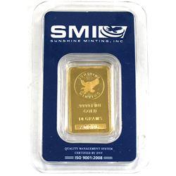 Sunshine Minting 10g .9999 Fine Gold Bar in Hard Plastic (TAX Exempt).
