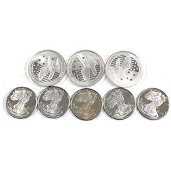 1/2oz & 1/4oz Fine Silver Coins - 3x 2017 Australia 1/2oz Victory in the Pacific & 5x Golden State M