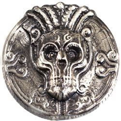 Beaver Bullion 5oz Mystic Thinker Skull .999 Fine Silver Antiqued Round (TAX Exempt).