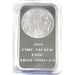 5oz Indian Head Liberty .999 Fine Silver Bar in Sealed Plastic (TAX Exempt).