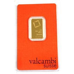 Valcambi Suisse 5g .9999 Fine Gold Bar in Hard Plastic Certificate (TAX Exempt).