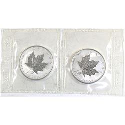 2004 Canada 1oz Libra & Aquarius .9999 Fine Silver Privy Maple Leafs in Sealed Mint Plastic (Libra h