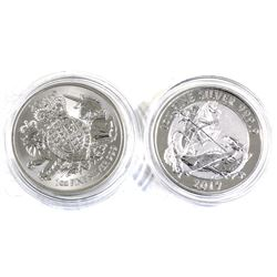 2019 Great Britain 2 Pound 1oz .999 Fine Silver Coins - The Royal Arms & Valiant. 2pcs (TAX Exempt)