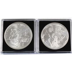 2015 & 2016 1oz Silver Shield .999 Fine Silver Coins - 2015 Year of the Sheep & 2016 Year of the Mon