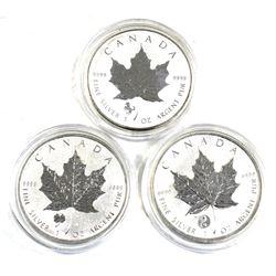 1oz Canada 2014 Horse, 2016 Four Leaf Clover & 2016 Yin Yang .9999 Fine Silver Privy Maple Leafs (To