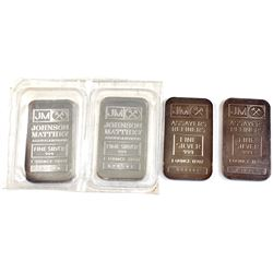 1oz Johnson Matthey .999 Fine Silver Bars - 2x Sealed Regular Back & 2x Scarcer Blank Back. 4pcs (TA