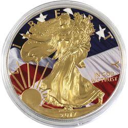 2017 USA 1oz Coloured & Gilded American Flag .999 Fine Silver Eagle (TAX Exempt).