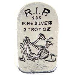 Monarch Precious Metals 2oz .999 Fine Silver Tombstone Skeleton in Drawstring Bag (TAX Exempt).