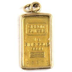 Credit Suisse 1g .9999 Fine Gold Bar in Gold Bezel (TAX Exempt).