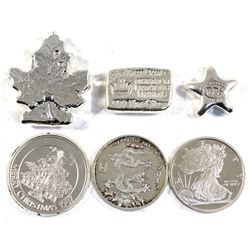 Lot of Various Sized .999 Fine Silver Pieces - 1/2oz Year of the Dragon, 1/2oz Golden State Mint, 1/