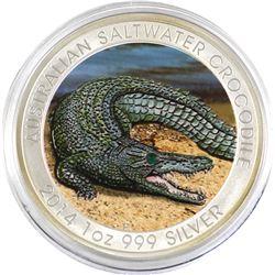 2014 Australia 1oz Coloured Saltwater Crocodile .999 Fine Silver Coin in Capsule (lightly toned arou