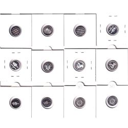 Mixed Lot of 12x 1 Gram World Silver Bullion Fine Silver Copy Coins. You will receive 8 different de