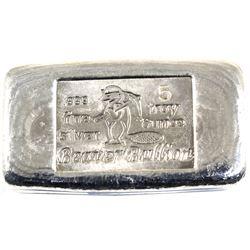 5oz Beaver Bullion .999 Fine Silver Poured Bar (TAX Exempt).