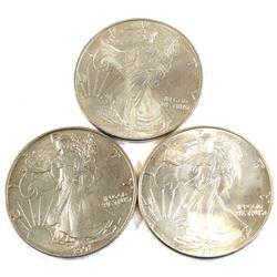1986, 1991 & 1995 USA 1oz .999 Fine Silver Eagles. 3pcs (TAX Exempt)