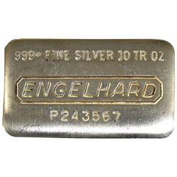 Vintage Style 10oz Engelhard .999 Fine Silver Poured Bar (TAX Exempt).