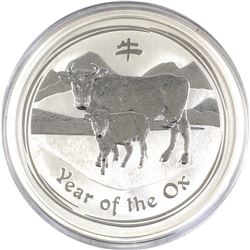 2009 Australia 5oz Year of the Ox .999 Fine Silver Coin (capsule scuffed) TAX Exempt.
