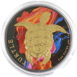 2015 Niue 1oz Coloured & Gilded .999 Fine Silver Turtle in Capsule (TAX Exempt).