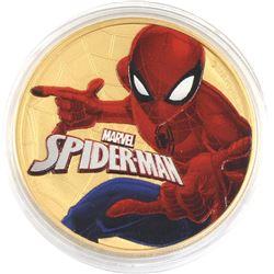 2017 Tuvalu 1oz Coloured & Gilded .9999 Fine Silver Marvel Spiderman in Capsule (TAX Exempt).