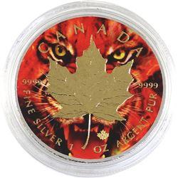 2017 Canada 1oz Coloured & Gilded .9999 Fine Silver Maple in Capsule (TAX Exempt).