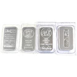 Assorted 1oz .999 Fine Silver Bars Sealed in Plastic - Johnson Matthey, Sunshine Minting, Silvertown