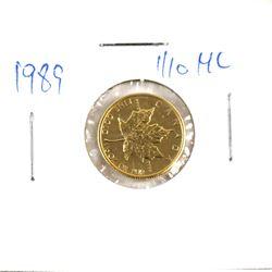 1989 Canada 1/10oz .9999 Fine Gold Maple Leaf (TAX Exempt).