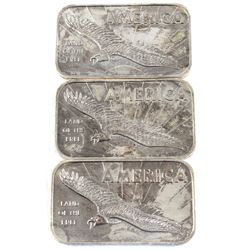 American Argent Mint 1oz America Land of the Free .999 Fine Silver Bars (Toned). 3pcs (TAX Exempt)