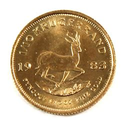 1983 South Africa 1/10oz Fine Gold. Contains .09995 oz. Fine Gold