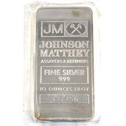 10oz Johnson Matthey .999 Fine Silver Bar in Sealed Plastic (TAX Exempt).