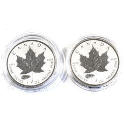 2016 Canada 1oz V Tank Privy .9999 Fine Silver Maple Leafs in Capsules. 2pcs (TAX Exempt)