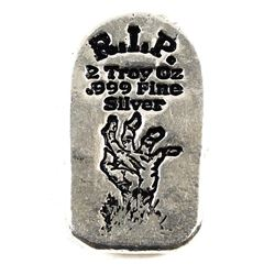 Monarch Precious Metals 2oz R.I.P. Zombie Hand .999 Fine Silver Tombstone (TAX Exempt).