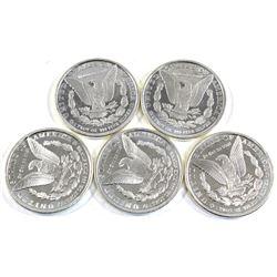 1oz USA Morgan Dollar Design .999 Fine Silver Rounds (Toned). 5pcs (TAX Exempt)