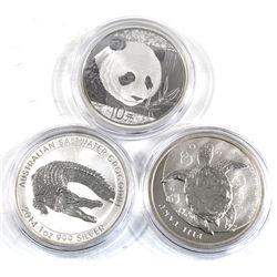 Various 1oz World Bullion Coins - 2012 Fiji Taku, 2014 Australian Saltwater Crocodile & 2018 China P