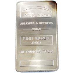 10oz NTR Metals .999 Fine Silver Bar (TAX Exempt).