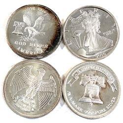 Lot of Various Design Vintage USA 1oz .999 Fine Silver Rounds. 4pcs (TAX Exempt)