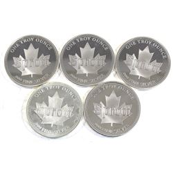1oz Sprott .999 Fine Silver Rounds (coins may be scratched & one coin is toned). 5pcs (TAX Exempt)