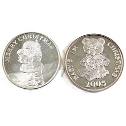 1oz .999 Fine Silver Commemorative Rounds - 2005 Baby's 1st Christmas & 2008 Merry Christmas (2005 c