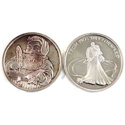1oz .999 Fine Silver Commemorative Rounds - 1999 Santa & 2001 'From This Day Forward' Wedding (1999