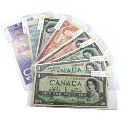1954-2000 $1 to $10 Bank of Canada Notes. You will receive BC-29a $1, BC-37c $1, BC-45b-i $1, BC-38d