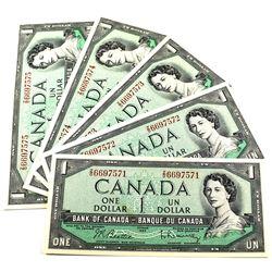 1954 $1 Bank of Canada Notes Beattie-Rasminsky Signature with Consecutive Serial Numbers Z/O6697571-