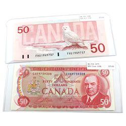 1975 BC-51b & 1988 BC-59c Bank of Canada $50 Notes. 2pcs