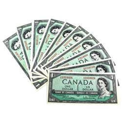 Lot of 1954 $1 Bank of Canada Notes Beattie-Rasminsky Signature with All Different Prefixes. 10pcs